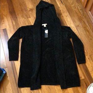 ❤️Black Velvet Cardigan w/ hood small